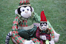 Vtg Pair of Elf Monkeys Stuffed Plush Christmas Sweet Dreams Designer Decor