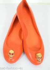 ALEXANDER McQUEEN CITY ORANGE LEATHER SKULL BALLET FLATS SHOES UK 4 EU 37 US 7