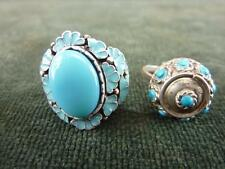 2 rings  Turquoise colour beads and stones and enamel UK K & UK L