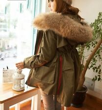 Womens Lady Fur Collar Hooded Loose Winter Long Parkas Coats Jackets Down Cotton