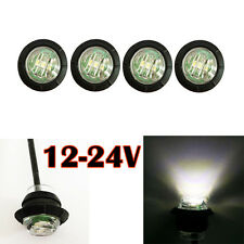 "4 PC 3/4"" Mini Side Marker Light Lamp Clearance Single LED White Lens 12V 24V"