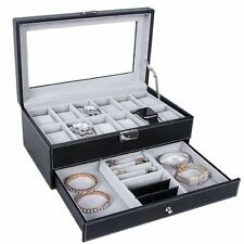 Leather Watch Box Display 12 Compartment Jewelry Drawer Lockable Case Organizer