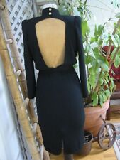 Vintage ST JOHN Black Santana Knit LBD BACKLESS Sexy Little Black Dress 4
