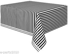 BLACK AND WHITE STRIPES PLASTIC TABLE COVER ~ Wedding Birthday Party Supplies