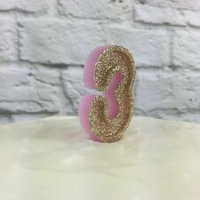 Pink And Gold glitter number 3 candle | 3rd Birthday | Cake Decorations | Party