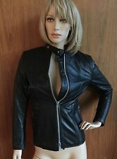 Vintage authentic black leather women's motorcycle jacket, Brimaco, Sz4, quilted