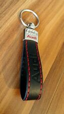 AUDI Eco Leather Key Chain Keyring Car Auto Accessories A3 A4 A6 TT RS BLACK RED