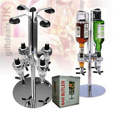 4 BOTTLE ROTARY STAND DRINKS SPIRITS WINE OPTIC DISPENSER PARTY STEEL BAR BUTLER