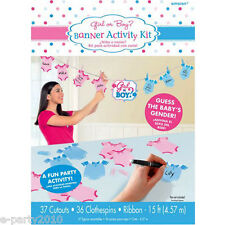BABY SHOWER Girl or Boy BANNER ACTIVITY KIT ~ Gender Reveal Party Supplies Pink