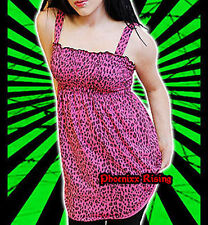 Darkside Clothing Pink Leopard Animal Print Tunic Long Line Dress Top