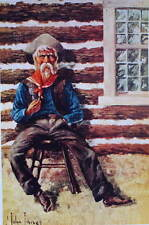 Old Fashioned Cowboy smoking pipe log house by John Innes