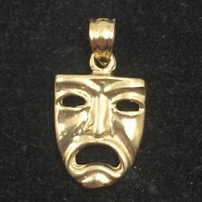 14k Yellow Gold New Orleans Mardi Gras Mask Pendant 12mm x 10mm