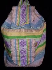 AUTHENTIC PINK BLUE GREEN PASTEL MEXICAN BACKPACK PINZON BEAUTIFULLY WOVEN NEW