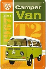 VW T2 Camper Van Classic Volkswagen Bay Old Garage Medium 3D Metal Embossed Sign