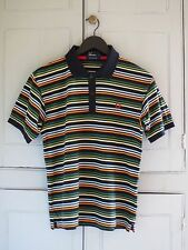 Genuine Fred Perry Men's Navy Blue Multi Striped Cotton Pique Polo Shirt Small