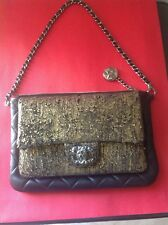 CHANEL CC BLACK / GOLD SMALL EVENING CLUTCH BAG NEW W TAGS MADE IN FRANCE ����