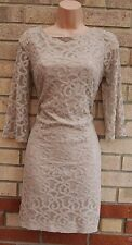NINE WEST DUSTY PINK BAROQUE LACE CROP SLEEVE TUBE SMOCK PARTY ELEGANT DRESS 10