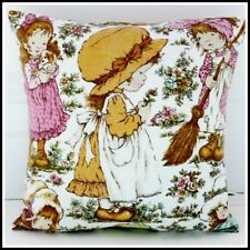 Vintage childrens cushion cover 70s Holly Hobbie Sarah Kay funky kitsch American