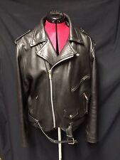 VINTAGE PLG PUTNAM LEATHER GOLD Black Biker Motorcycle Leather Jacket Sz 44