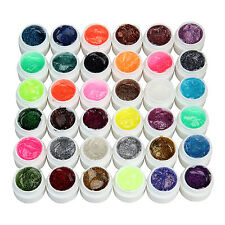 36 PCS Glitter Mix Colors UV Builder Gel Acrylic Set for Nail Art Tips