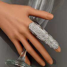 New Rhodium Plated Clear Crystal Rhinestone Adjustable Fashion Custom ring 00296