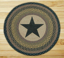 "BLACK STAR 100% Natural Braided Jute Rug, 27"" Round, Capitol Earth Rugs"