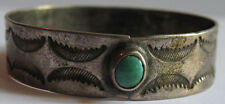 VINTAGE NAVAJO INDIAN STAMPED SILVER & TURQUOISE NAPKIN RING or DOLL BRACELET