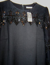 "NEW DARLING ""TOAST OF CHARLESTON"" BLACK VINTAGE-STYLE DRESS LONG SLEEVE size L"