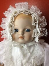 "Prestige Kingstate Infant Baby Sally Christening Gown 18"" Porcelain Bisque Doll"