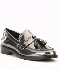 Coach Izabella Shoes Gunmetal Metallic Leather Tassel Loafers 9.5 NWOB NEW $195