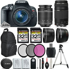 Canon EOS Rebel T5i Camera + 18-55mm IS + 75-300mm + 64GB + Flash + Backpack