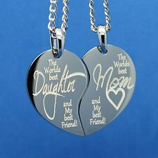 PERSONALIZED SILVER SPLIT HEART PENDANT NECKLACE WORLDS BEST MOM CUSTOM ENGRAVED