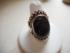 Large Bali Sterling Silver 925 Gorgeous Black Onyx Ring  Size 10.5  RE4952