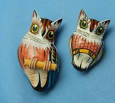 Carved Wooden Wood Bird Owl Pin Pair w/Card Hand Painted Brown Owl & Baby