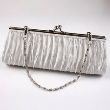 Women Lady Satin Pleated Wedding Bridal Evening Party Clutch Purse Bag Handbag G