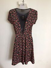 BNWT Pins & Needles Black Jersey Floral Print Skater Dress from Urban Outfitters