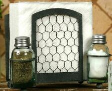 Unique Primitive Chicken Wire MASON Jar Salt Pepper Napkin Holder  With Frame