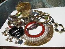 21 VINTAGE DECO RETRO CUFF BANGLE BEADED LINKS STRETCH COLLECTION LOT BRACELETS