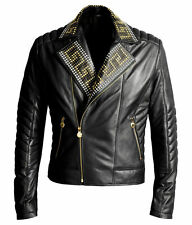 VERSACE For H&M Motorcycle Rare Black Leather Biker Studded Studs Jacket XL