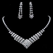 Sparkly Wedding Bridal Party Rhinestone Crystal Necklace Earrings Jewelry Sets