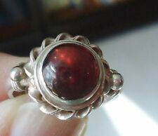 Vintage Sterling Silver Ring Braided Smooth Garnet - Size 5.25 - 3.3 Grams