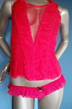 BRIDAL ANN SUMMER ANYA MESH SILKY CORSET,TIGHTS& LA SENZA RETRO BRIEF SZ 8&10
