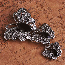 VINTAGE INSPIRED RHODIUM SILVER PLATED STATEMENT BLACK BUTTERFLY BROOCH