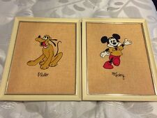 Rare Vintage Disney Embroidered Pluto & Mickey Mouse Picture Set W/ Rare Error