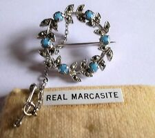 VINTAGE 1940s SILVER TONE REAL MARCASITE TURQUOISE BEAD WREATH BROOCH