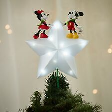 DISNEY 2016 MICKEY AND MINNIE MOUSE LIGHT UP TREE TOPPER --NEW