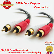 6FT Gold RCA Stereo Audio Cable 2RCA To 2 RCA Male to Male for DVD, HD-TV 6 FT