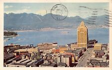 VANCOUVER BC CANADA VIEW FROM HOTEL~BURRARD INLET~MARINE BUILDING POSTCARD 1957
