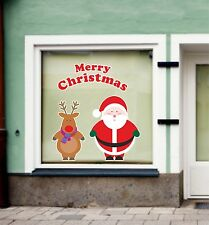 Window Display Sticker Merry Christmas Santa And Rudolph