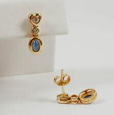 Aparte Herz Ohrringe Ohrhänger mit Safir und Brillant 0,16 Carat; 585 Gelbgold